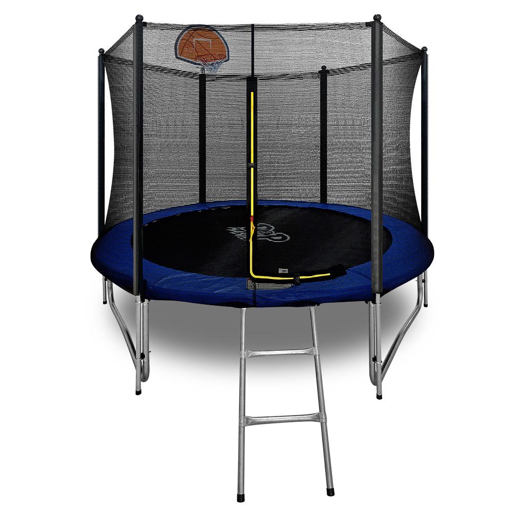 Flat Trampoline with Basketball Hoop Ladder