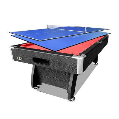 7FT Black Red Pool/Billiard Table + 2-piece Poker/Table Tennis Top