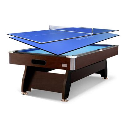 7FT Walnut Blue Pool/Billiard Table + 2-piece Poker/Table Tennis