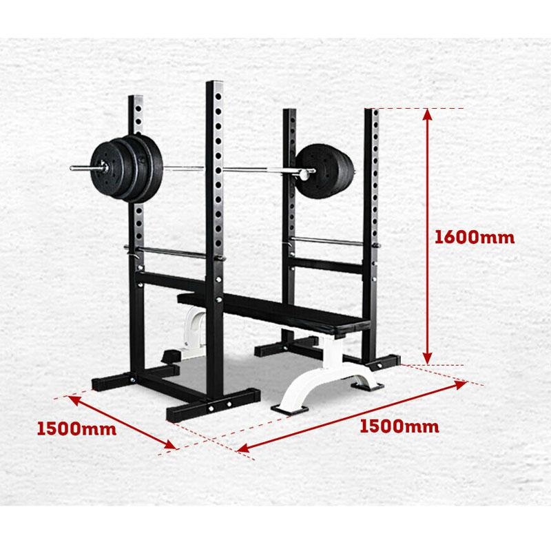 JMQ Fitness RBT303 Flat Bench & Squat Rack Set