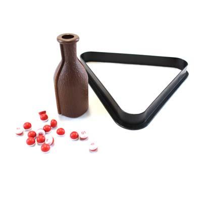 kelly pool shaker bottle & marbles pool snooker ball rack