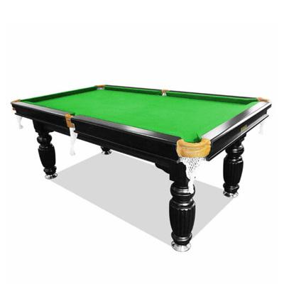 7FT LUXURY SLATE SOLID TIMBER BILLIARDS / POOL TABLE GREEN FELT BLACK BEAM