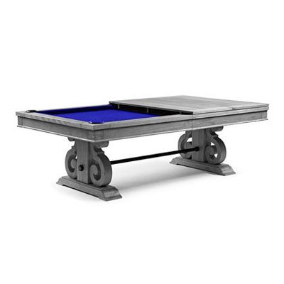 8FT LUXURY SLATE BILLARDS / SNOOKER TABLE W/ DINING TOP SILVER MIST